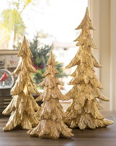 Superieur Golden Christmas Tabletop Trees, Set Of 3 Main