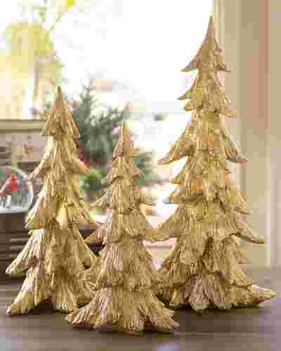 Golden Christmas Tabletop Trees, Set of 3 by Balsam Hill