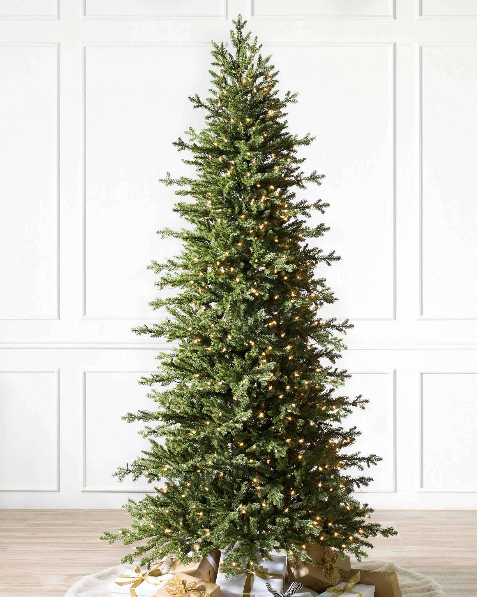 Slim Christmas Tree.Red Spruce Slim Artificial Christmas Tree Balsam Hill
