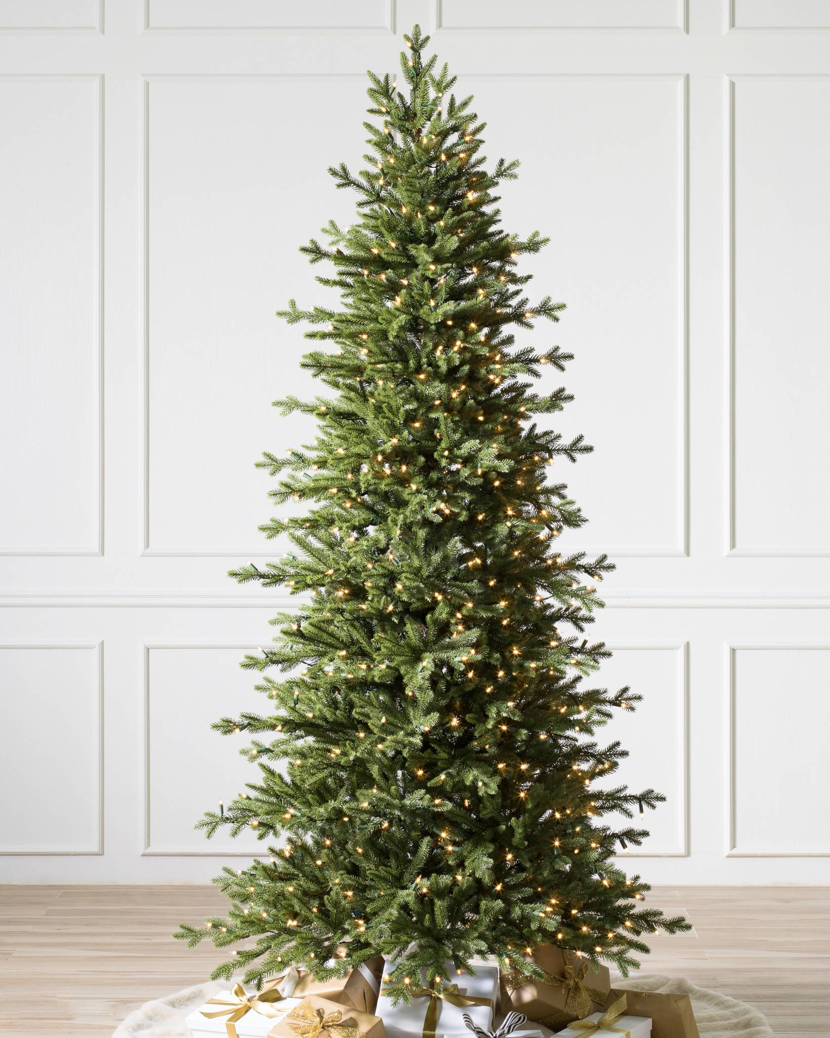 clear lights - Slim Christmas Tree Decorating Ideas
