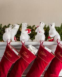 polar bear family stocking holder main - Elegant Christmas Stockings