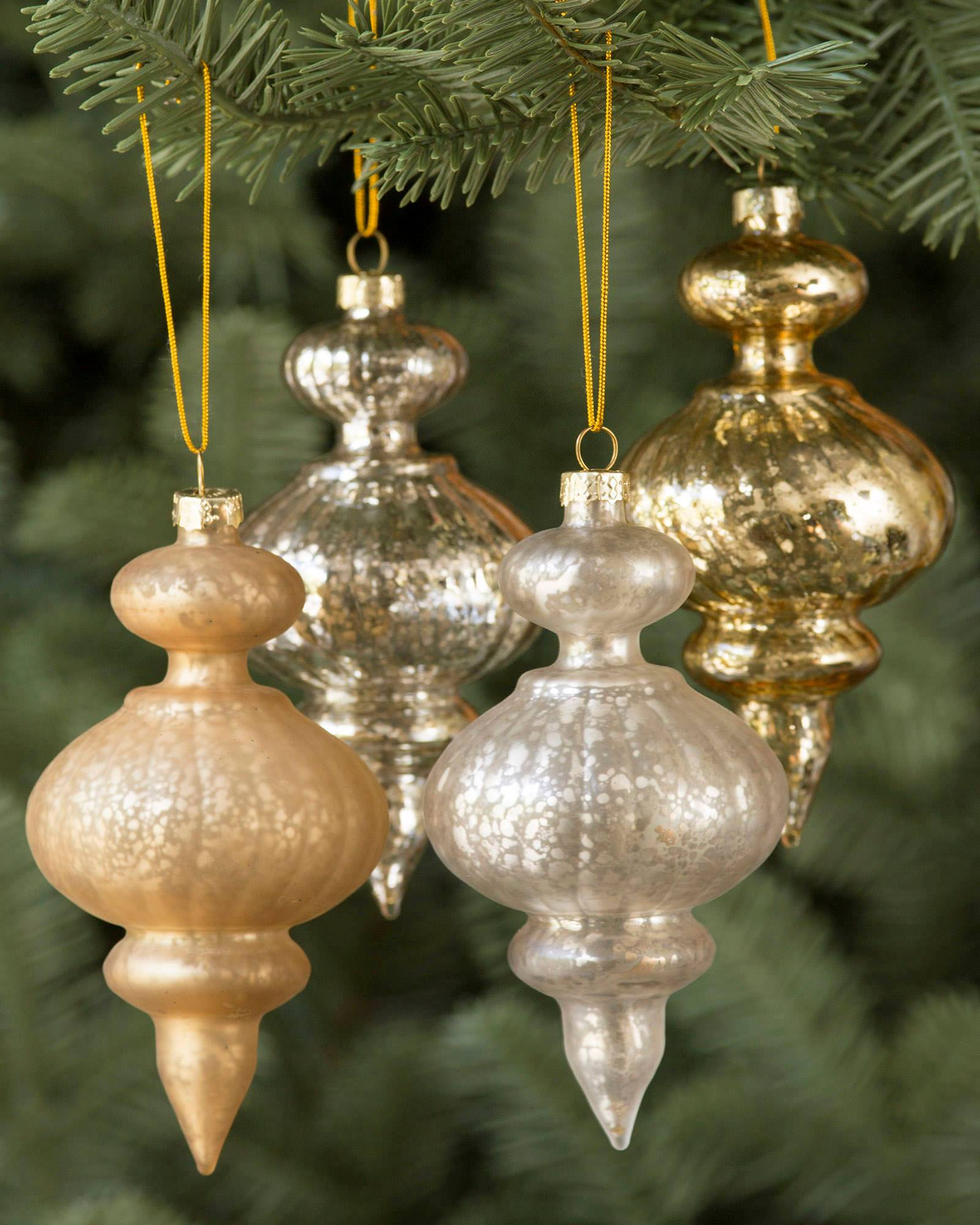 silver and gold glass ornament set alt - Glass Christmas Bulbs For Decorating