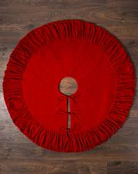 60in Red Pleated Velvet Tree Skirt by Balsam Hill Closeup 10