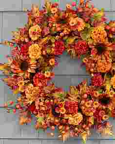 Sunburst Mums Wreath by Balsam Hill