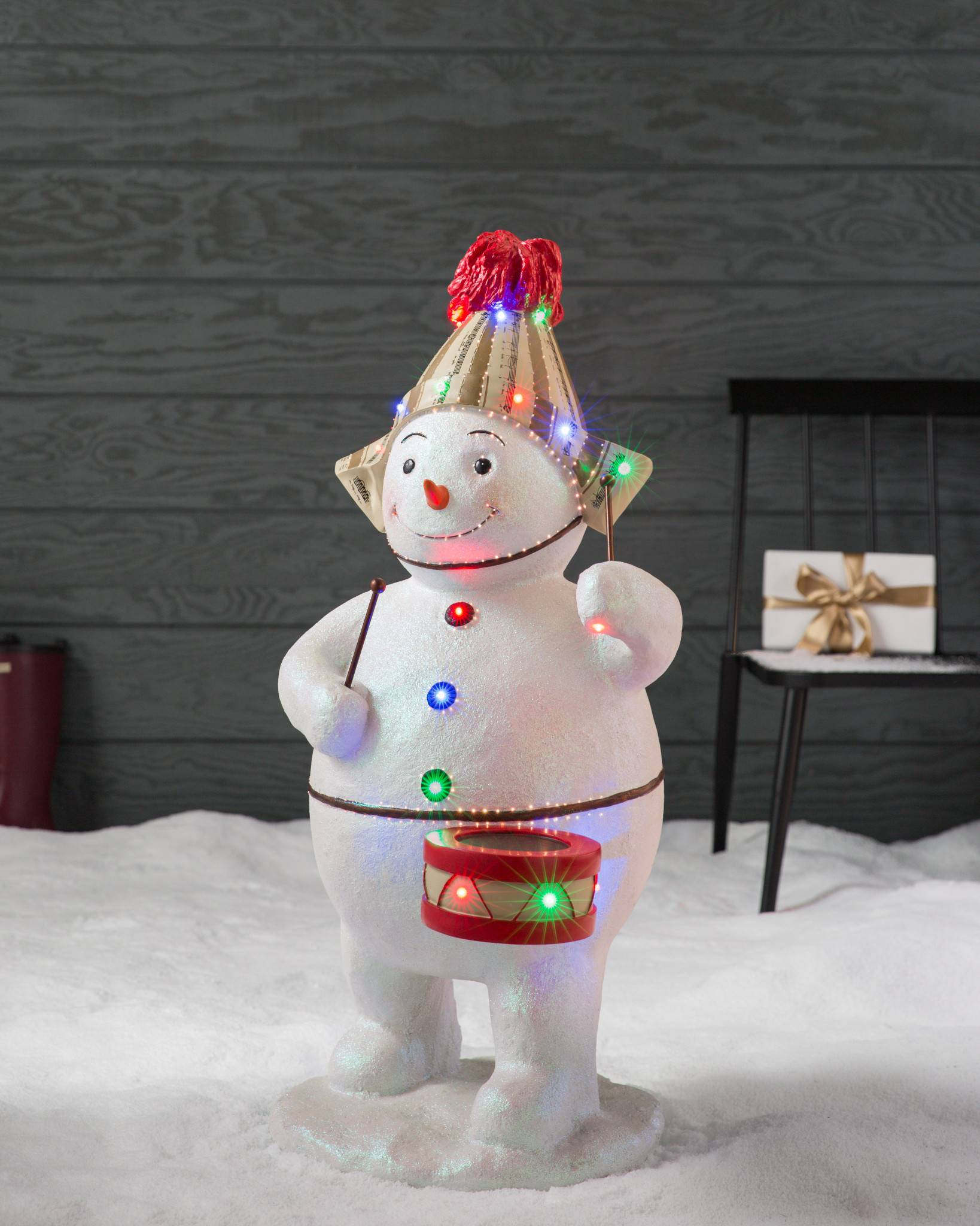 outdoor fiber optic snowman with drum by balsam hill