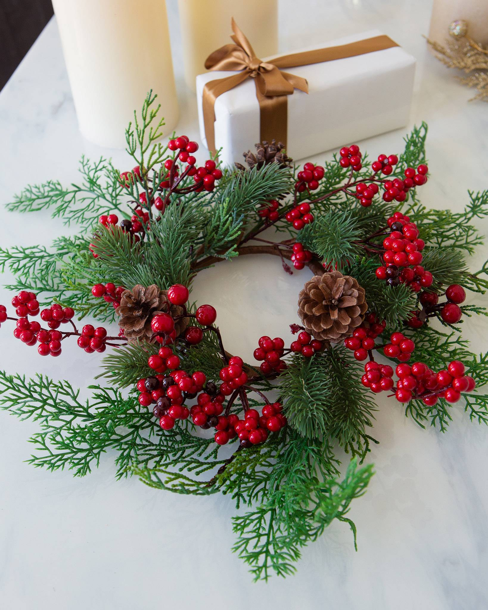 christmas candle rings set of 3 by balsam hill - Decorative Christmas Candle Rings
