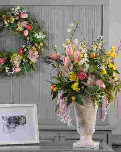 Spring in Bloom Arrangement and Wreath Artificial Florals by Balsam Hill