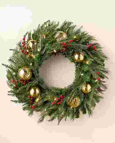 Pine Peak Holiday Wreath LED Clear 28 Inches by Balsam Hill