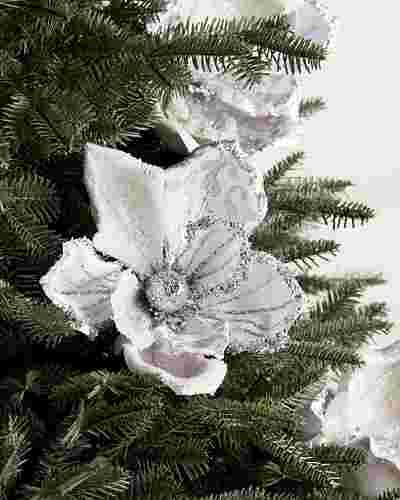 Silver Glitter Magnolia Picks by Balsam Hill