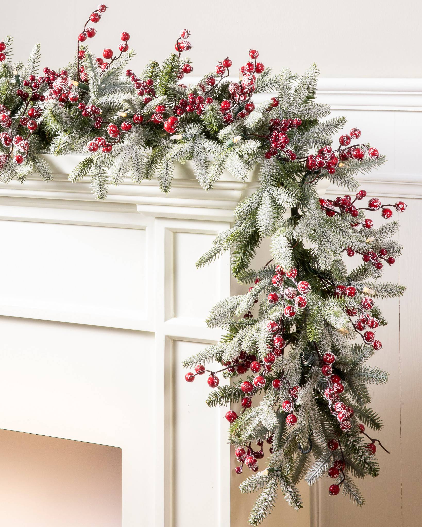 red berry frosted fraser fir garland - Holiday Time Christmas Decor 9 Flocked Garland Green