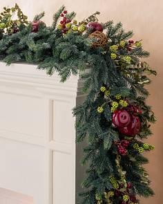 Christmas Lighted Garlands.Artificial Christmas Wreaths Garlands Foliage Balsam Hill