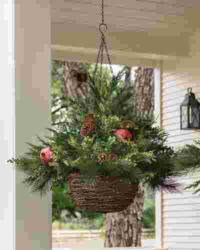 LED Mixed Pine Hanging Basket Main