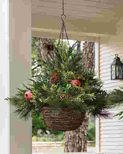 LED Mixed Pine Hanging Basket by Balsam Hill