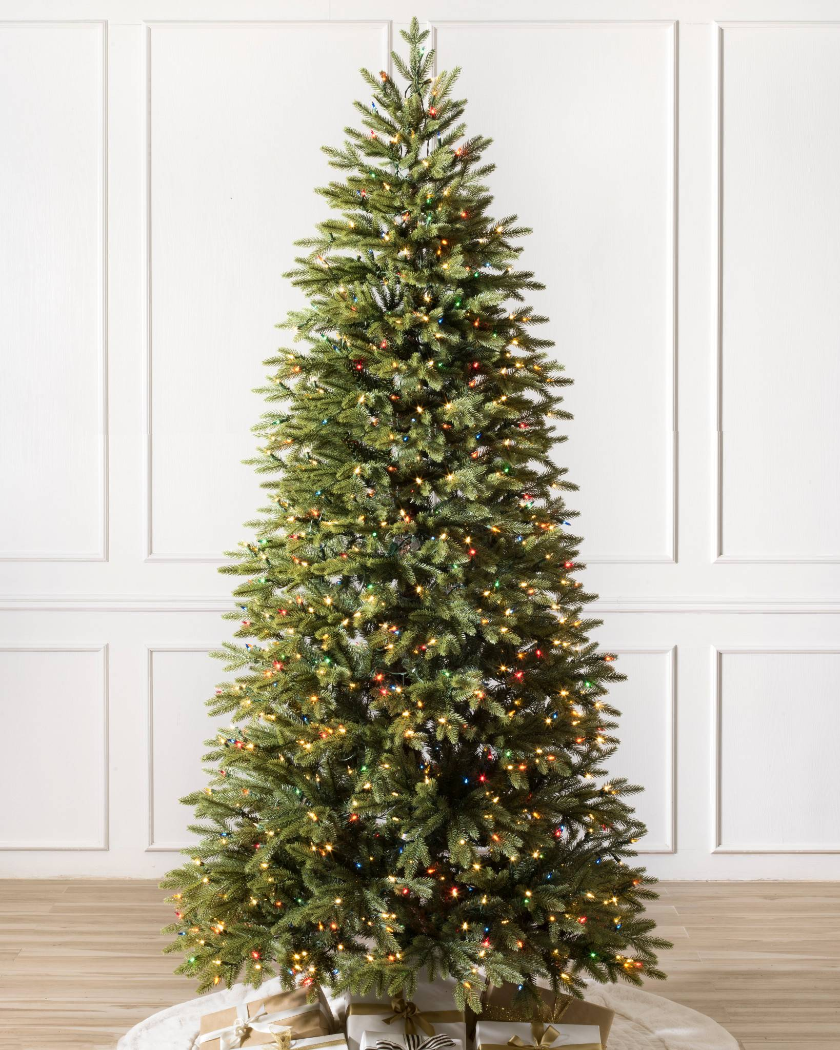 silverado slim artificial christmas tree with color plus clear light by balsam hill - Slim Christmas Tree With Led Lights