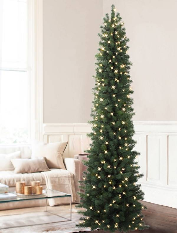 sonoma slim pencil tree 5 - Skinny Christmas Tree Decorating Ideas
