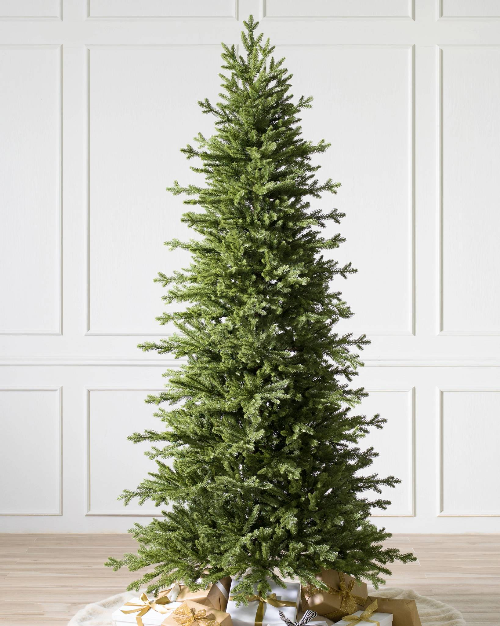 red spruce slim tree child 1 - Christmas Tree With White Lights And Red Decorations