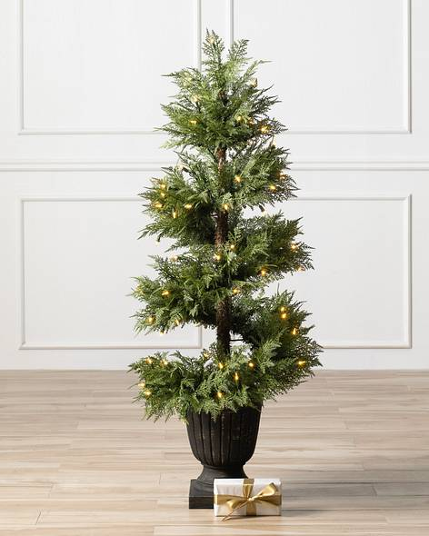 artificial potted christmas trees topiaries balsam hill - Christmas Topiary