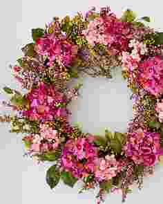 Outdoor Pink Hydrangea Berry Wreath by Balsam Hill