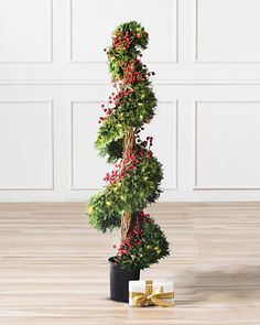 Christmas Topiary Decor.Artificial Potted Christmas Trees Topiaries Balsam Hill