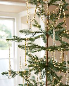 christmas tree ribbons garlands crystal and pearl beaded gold garland set of 3 by balsam hill - Christmas Tree Ribbon Garland