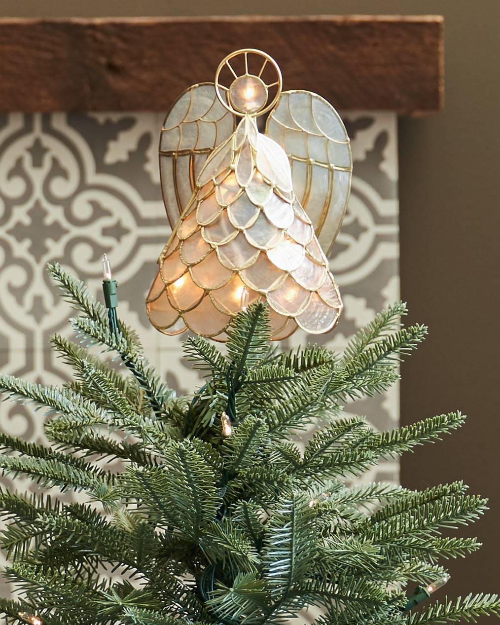 8 16 capiz angel lighted tree topper by balsam hill capiz angel lighted tree topper