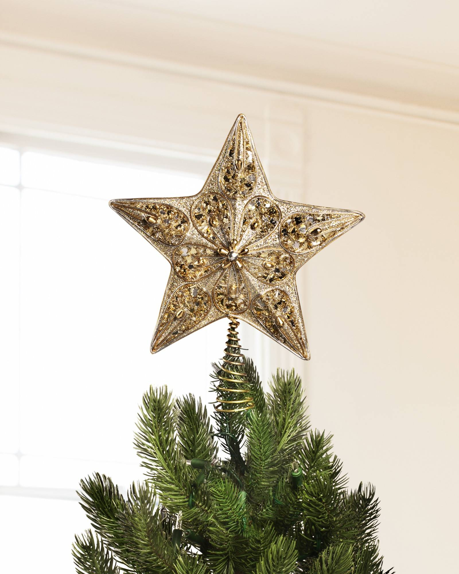 silver and gold star tree topper main - Silver Christmas Decorations Uk