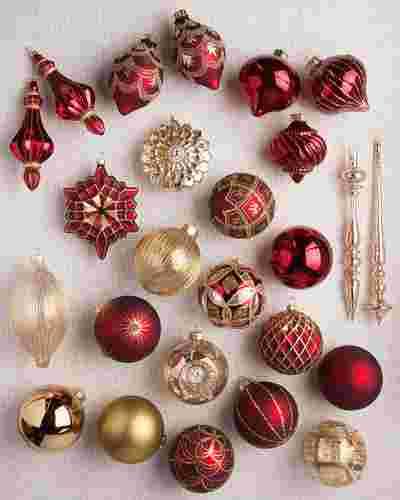 Brilliant Bordeaux Ornament Set, 25 Pieces by Balsam Hill