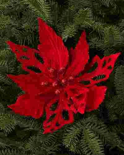Velvet Poinsettia Picks, Set of 12 by Balsam Hill