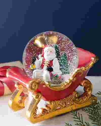Santa's Sleigh Snow Globe by Balsam Hill
