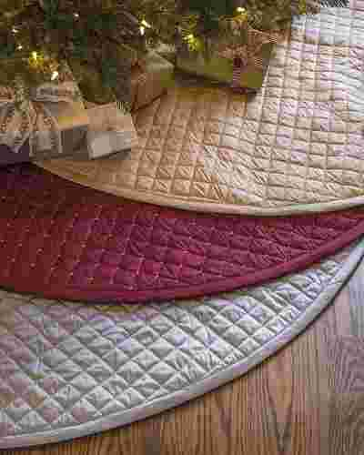 60in Cranberry Regency Dupioni Quilted Tree Skirt Main