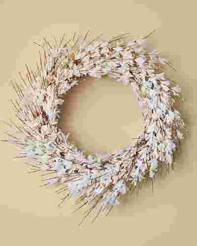 White Forsythia Wreath by Balsam Hill