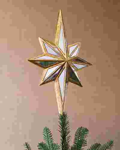 Double-Sided Mirrored Star Christmas Tree Topper by Balsam Hill SSC 10