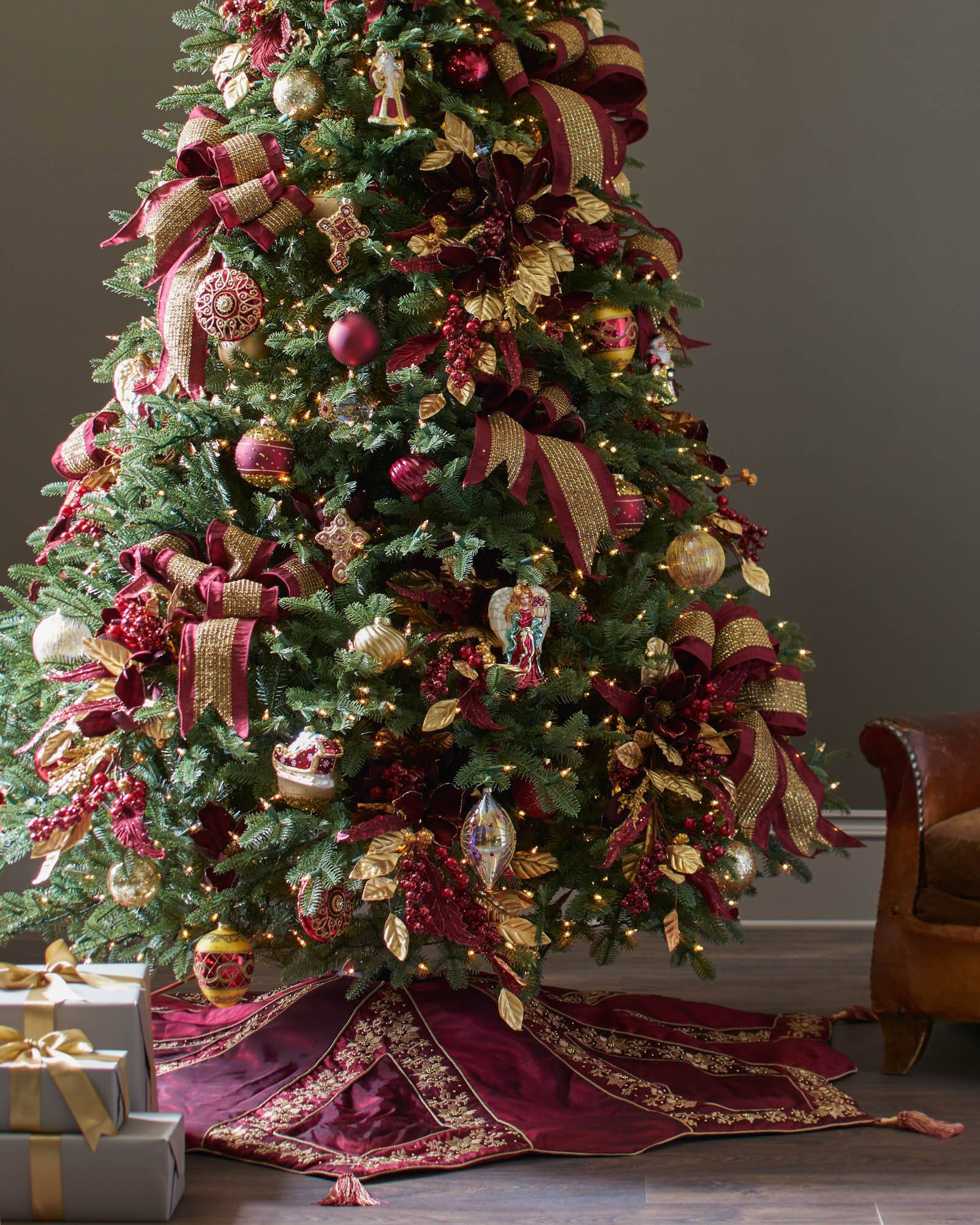 Burgundy And Gold Christmas Tree Skirt Balsam Hill