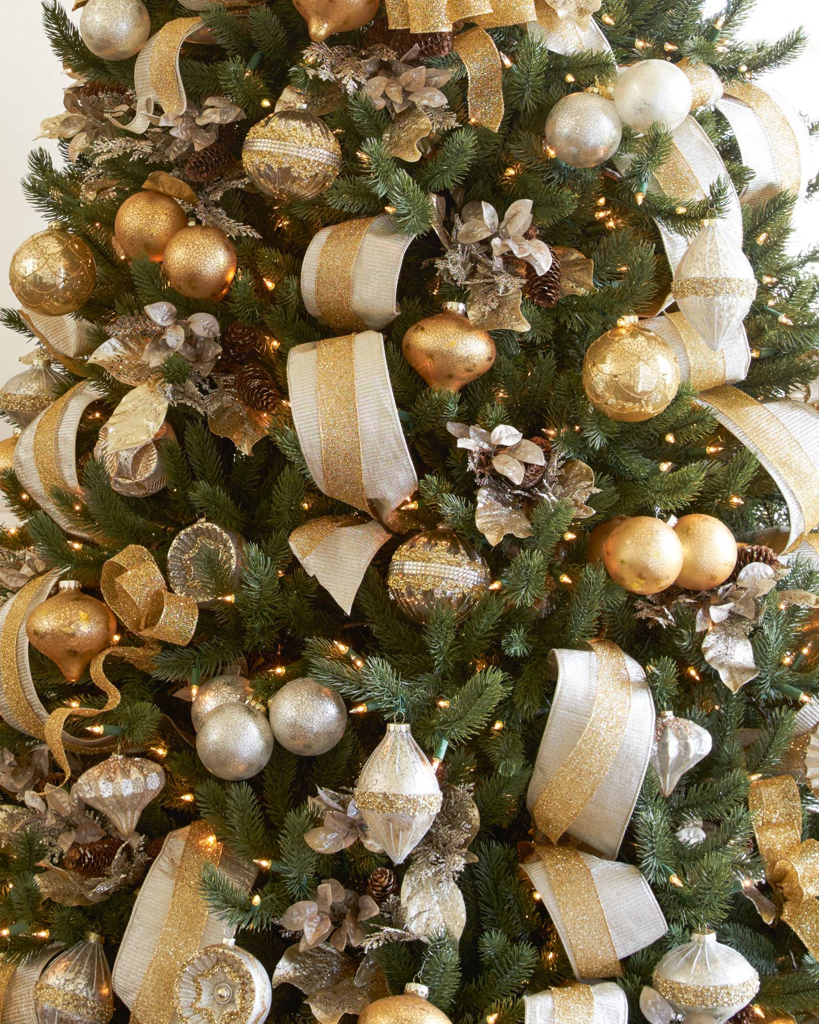 Ribbon On Christmas Tree.Shimmering Metallic Christmas Tree Ribbon Balsam Hill