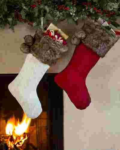 Cableknit Christmas Stockings, Set of 2 by Balsam Hill