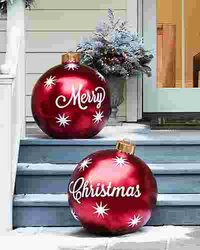Outdoor Merry Christmas Ornaments, Set of 2 by Balsam Hill