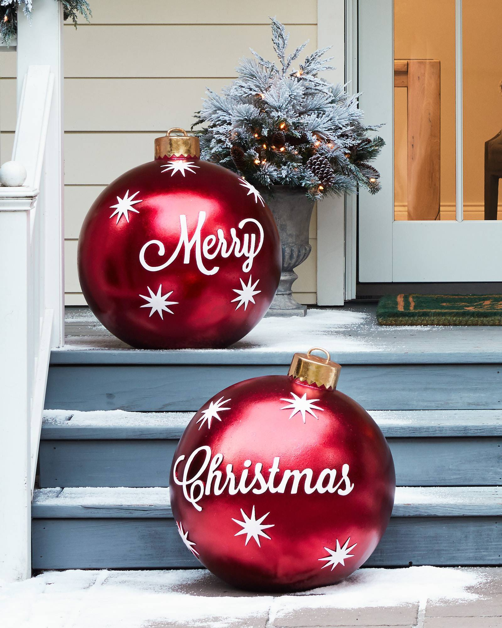 outdoor merry christmas ornaments set of 2 main - Outdoor Christmas Balls