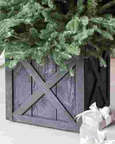 Rustic Wooden Rolling Tree Stand by Balsam Hill SSC 20