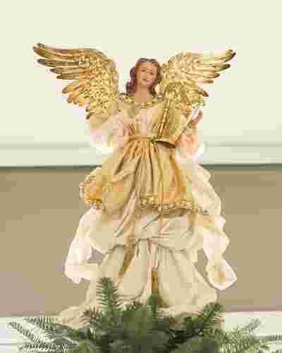 Gold Angel Christmas Tree Topper by Balsam Hill