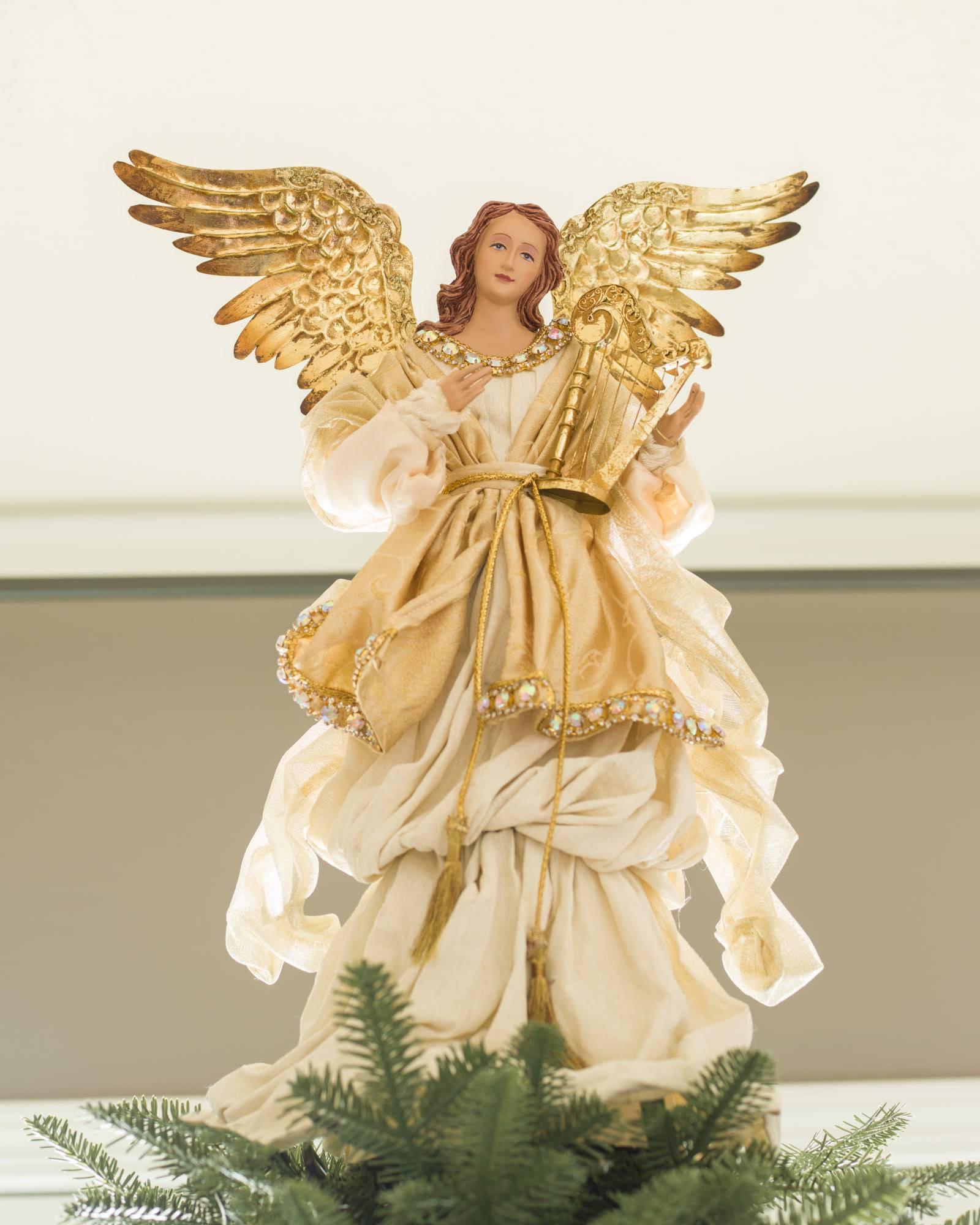 Angel Christmas Tree Topper.Gold Angel Tree Topper Balsam Hill
