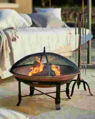 Outdoor Wrought Iron and Copper Fire Pit Set by Balsam Hill
