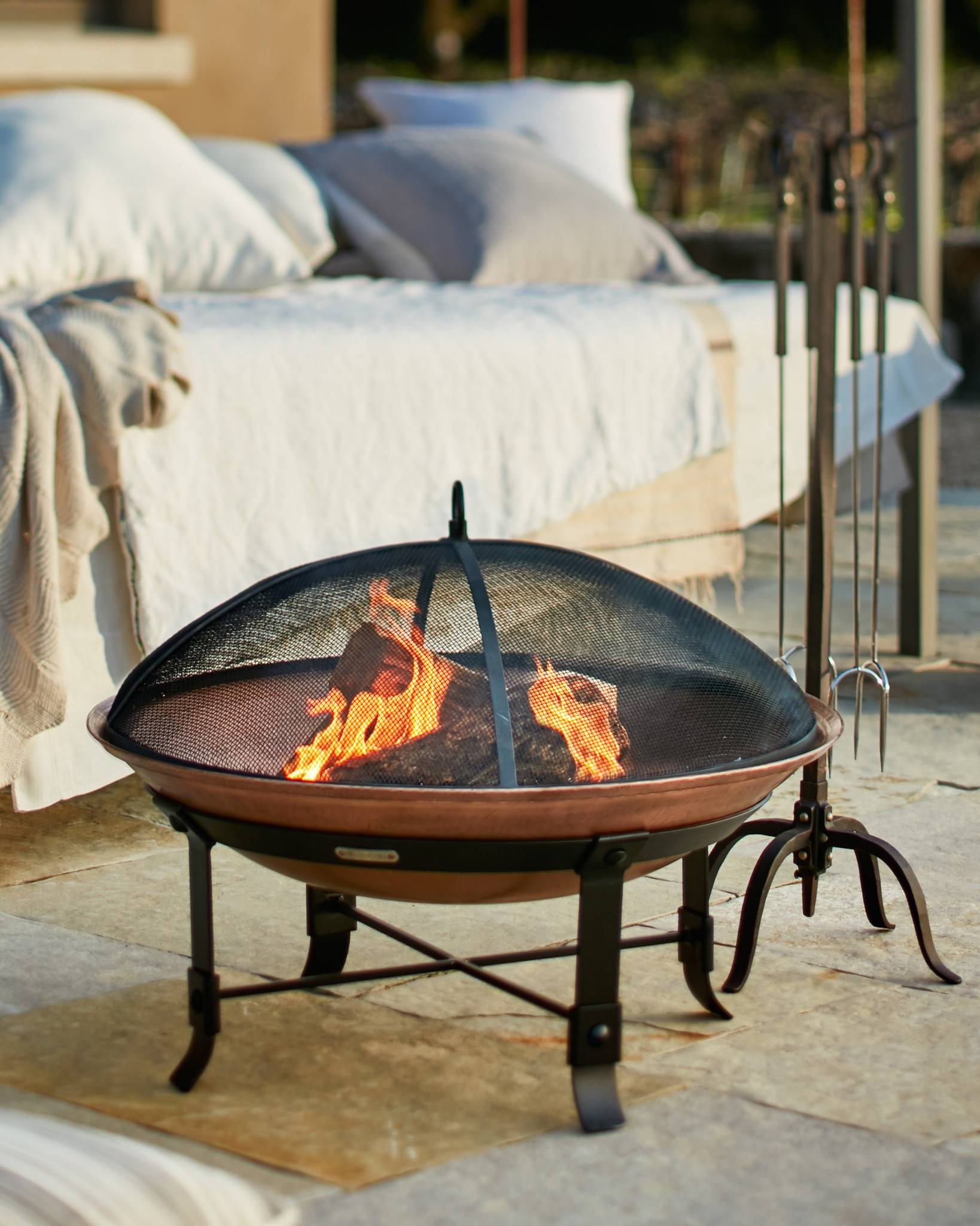 Outdoor Wrought Iron And Copper Fire Pit Set