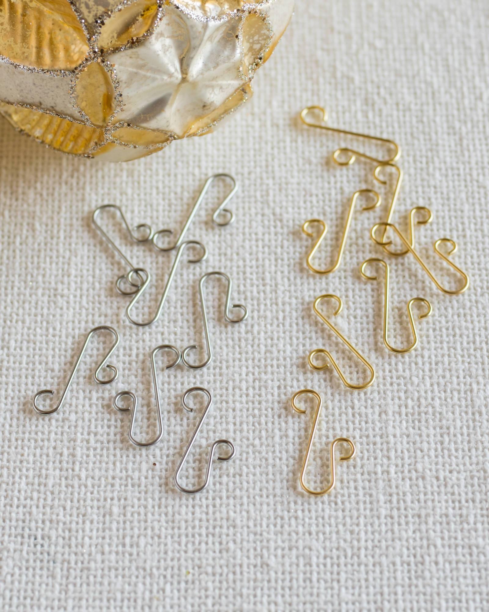 gold ornament hooks set of 100 main - Christmas Ornament Hooks