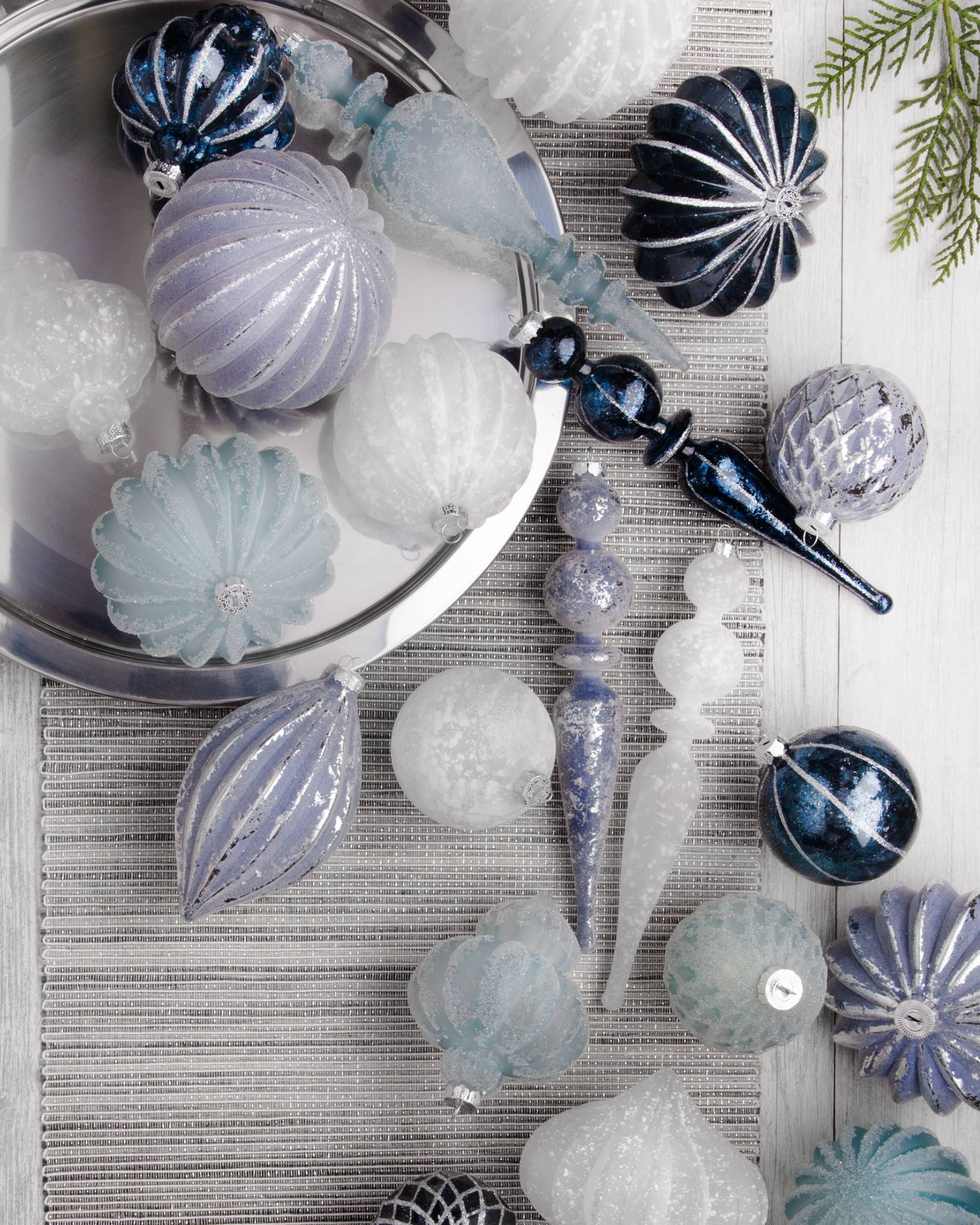 midnight frost ornament set by balsam hill - Blue Grey Christmas Decorations