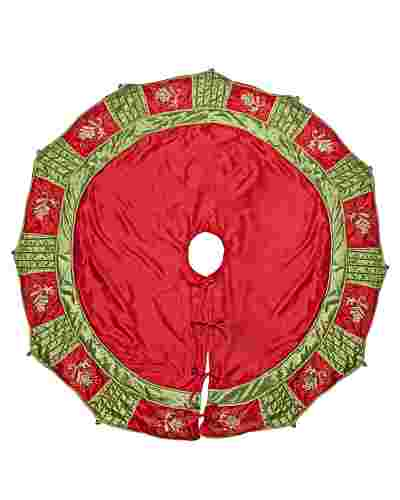Mistletoe And Holly Tree Skirt by Balsam Hill
