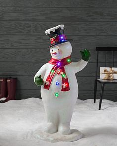 Outdoor Fiber Optic Snowman with Top Hat by Balsam Hill Christmas Decorations \u0026 Lights |
