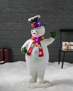 outdoor fiber optic snowman with top hat by balsam hill