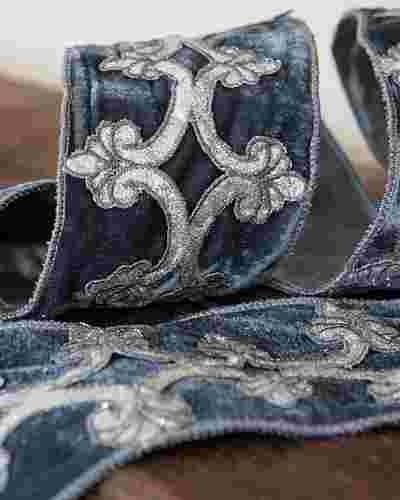 4x5 Yards French Blue Velvet Ribbon