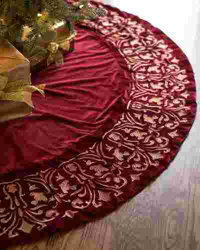 Wine Luxe Embroidered Velvet Tree Skirt by Balsam Hill