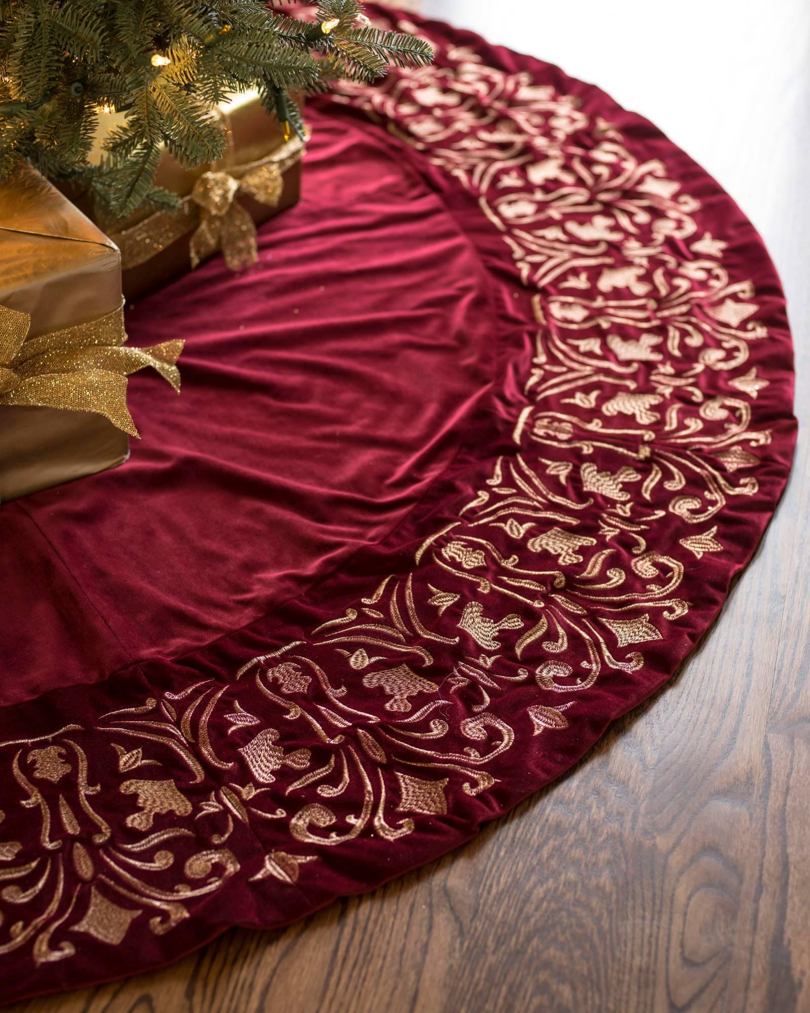 Luxe Embroidered Velvet Tree Skirt Balsam Hill
